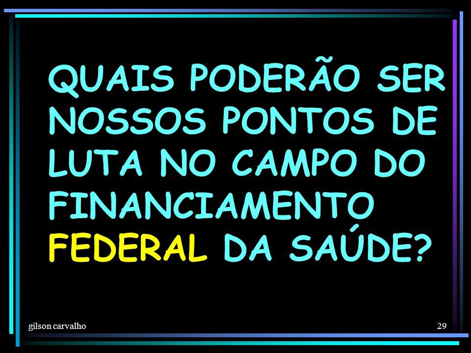 QUAIS PODERÃO SER NOSSOS PONTOS DE LUTA NO CAMPO DO FINANCIAMENTO FEDERAL DA SAÚDE