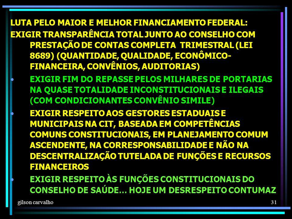 LUTA PELO MAIOR E MELHOR FINANCIAMENTO FEDERAL: