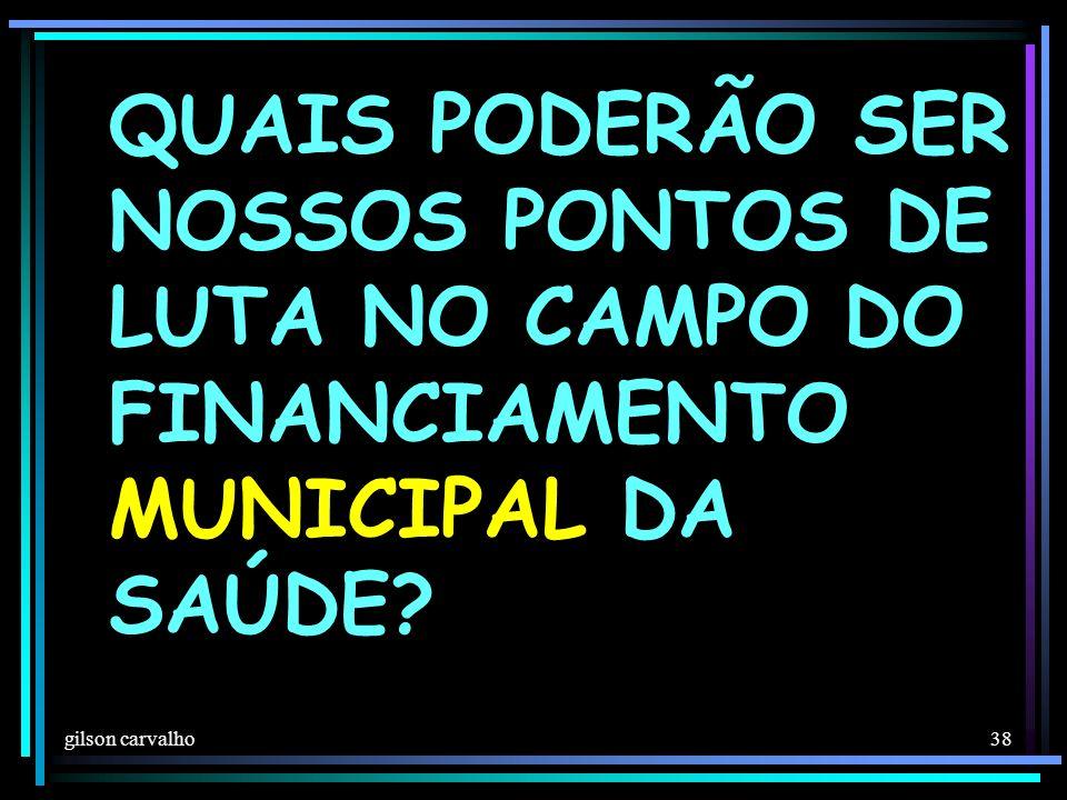 QUAIS PODERÃO SER NOSSOS PONTOS DE LUTA NO CAMPO DO FINANCIAMENTO MUNICIPAL DA SAÚDE