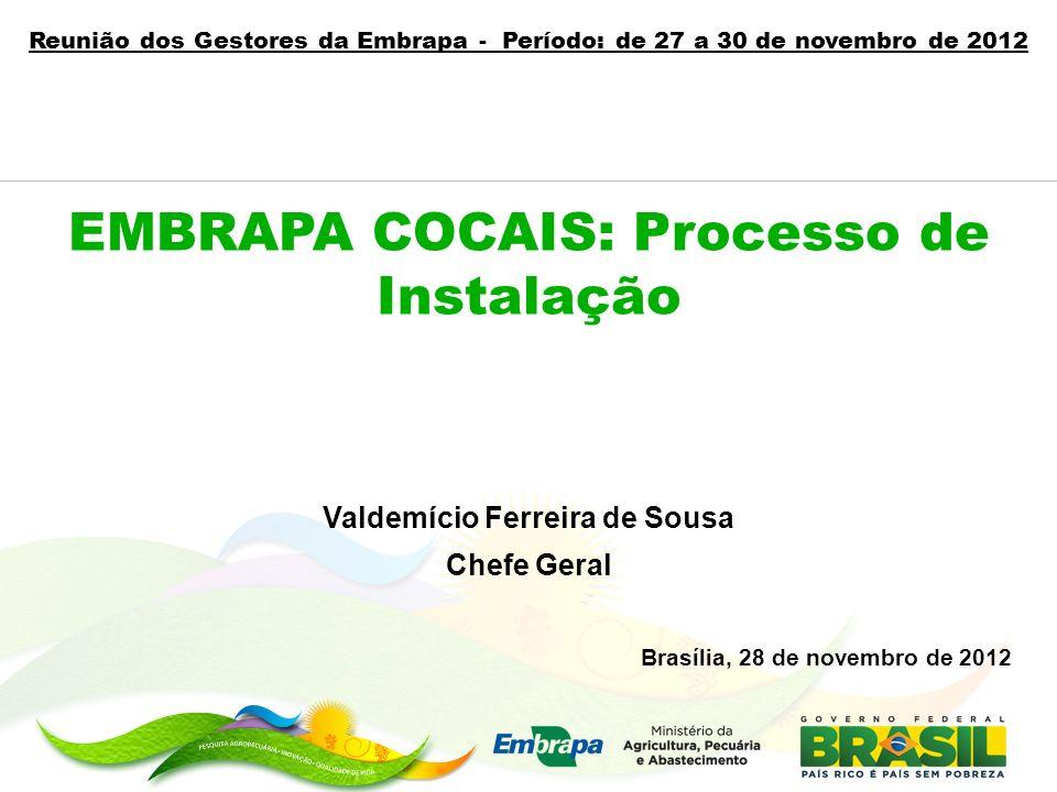 EMBRAPA COCAIS: Processo de Instalação Valdemício Ferreira de Sousa