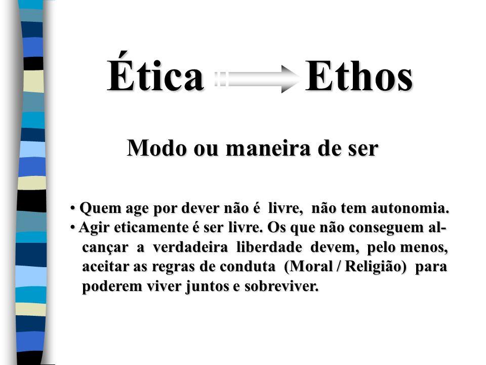 Ética Ethos Modo ou maneira de ser