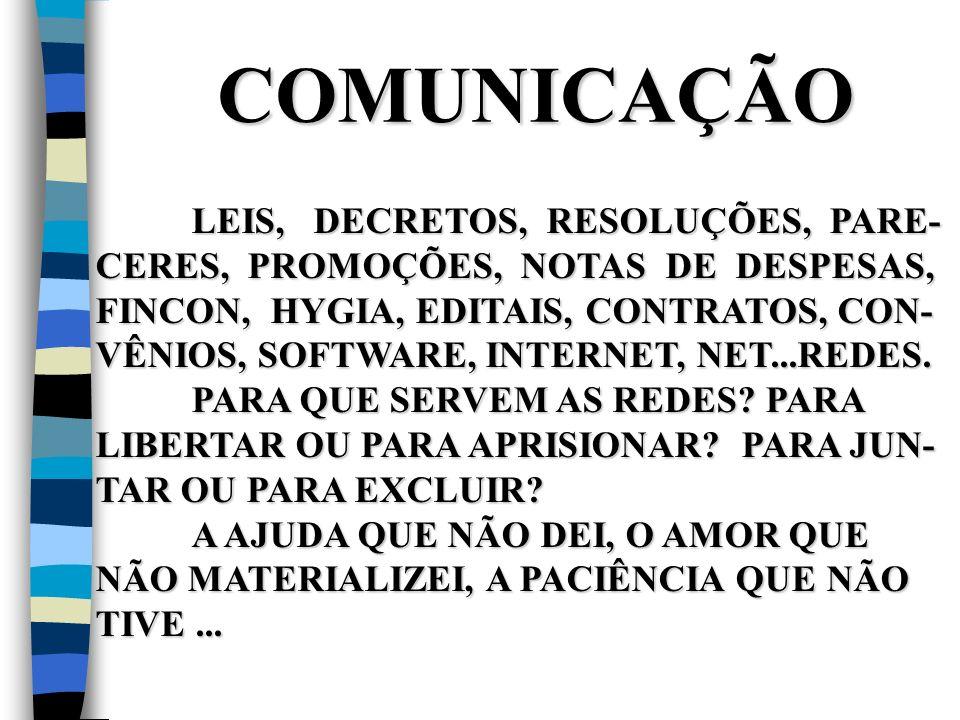 COMUNICAÇÃO LEIS, DECRETOS, RESOLUÇÕES, PARE-