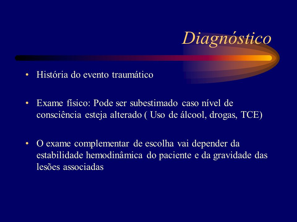Diagnóstico História do evento traumático