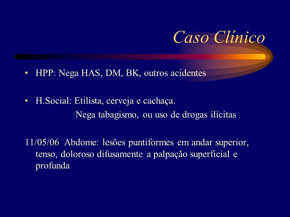Caso Clínico HPP: Nega HAS, DM, BK, outros acidentes