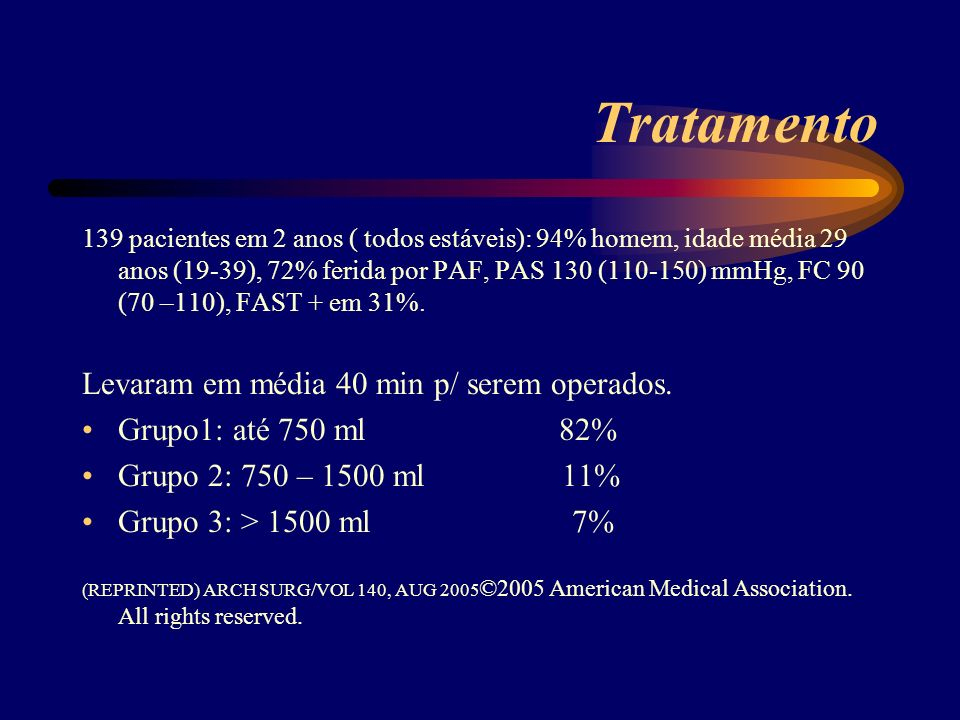 Tratamento Levaram em média 40 min p/ serem operados.