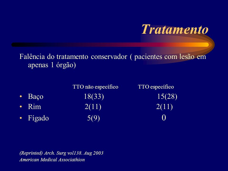 Tratamento TTO não específico TTO específico