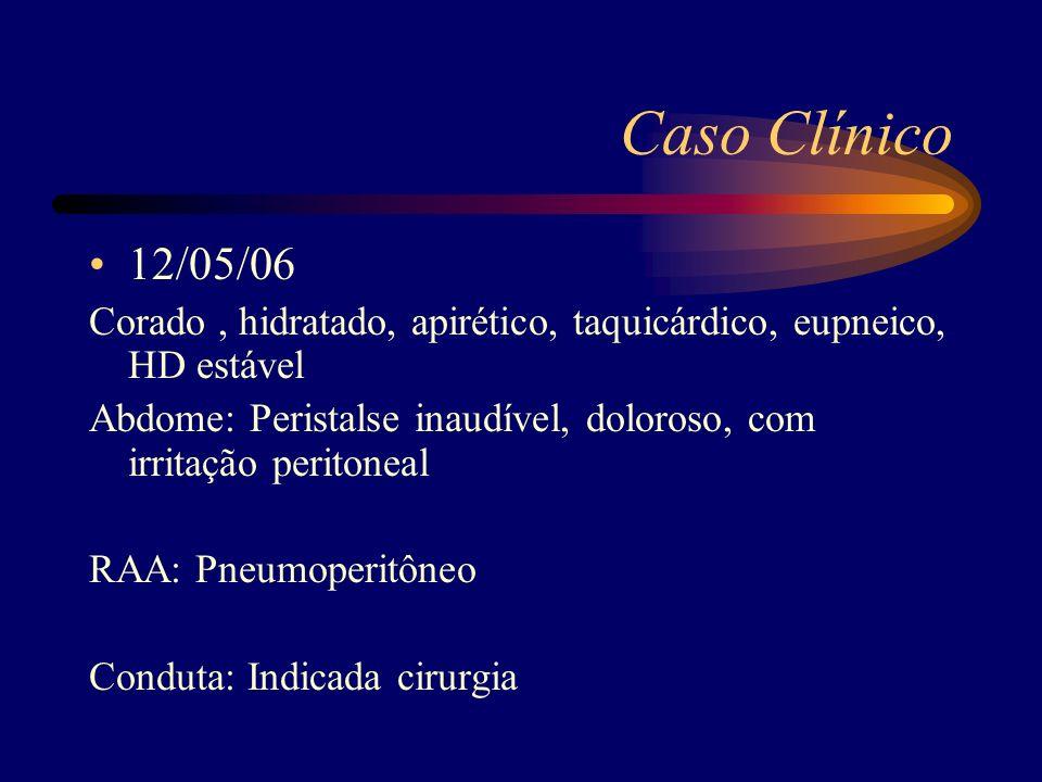 Caso Clínico 12/05/06. Corado , hidratado, apirético, taquicárdico, eupneico, HD estável.