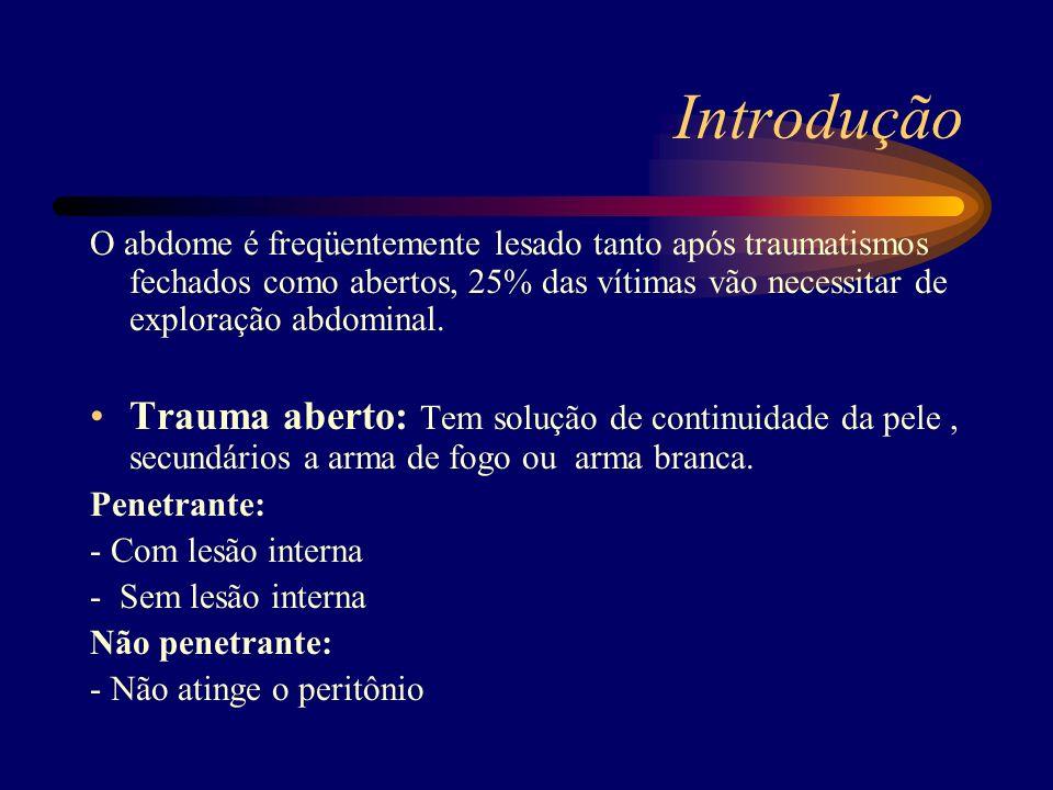 Introdução O abdome é freqüentemente lesado tanto após traumatismos fechados como abertos, 25% das vítimas vão necessitar de exploração abdominal.