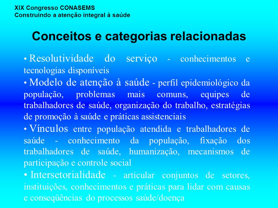 Conceitos e categorias relacionadas