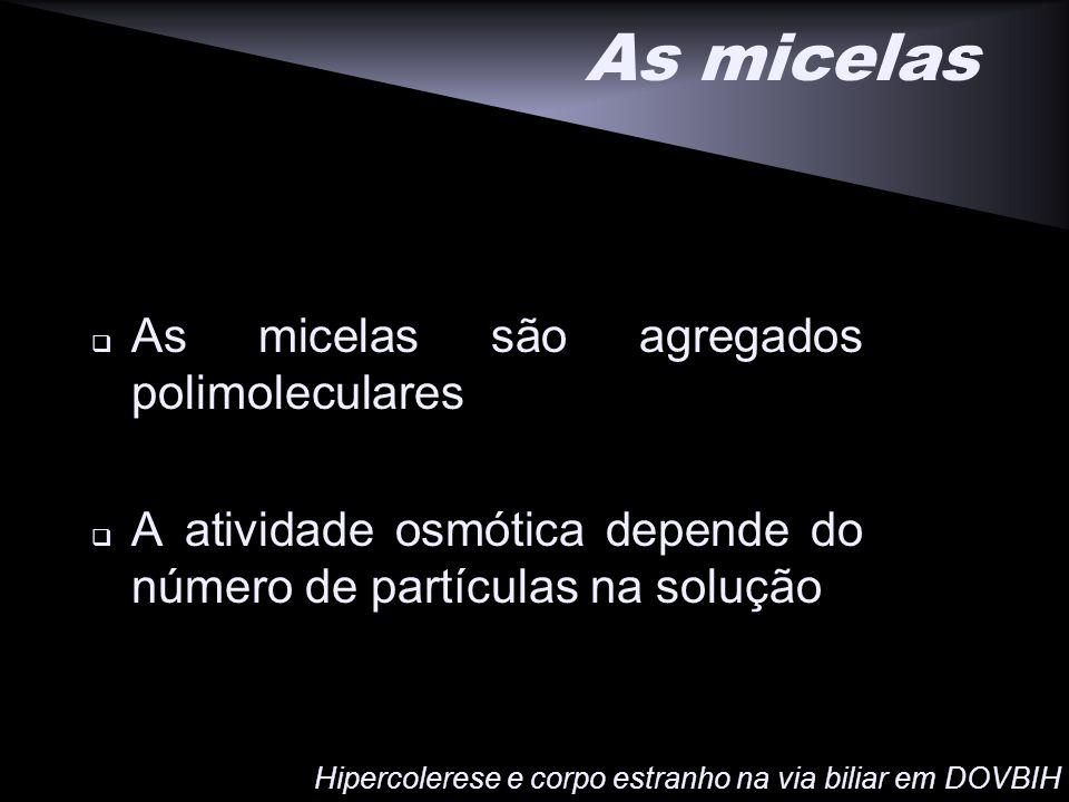 As micelas As micelas são agregados polimoleculares