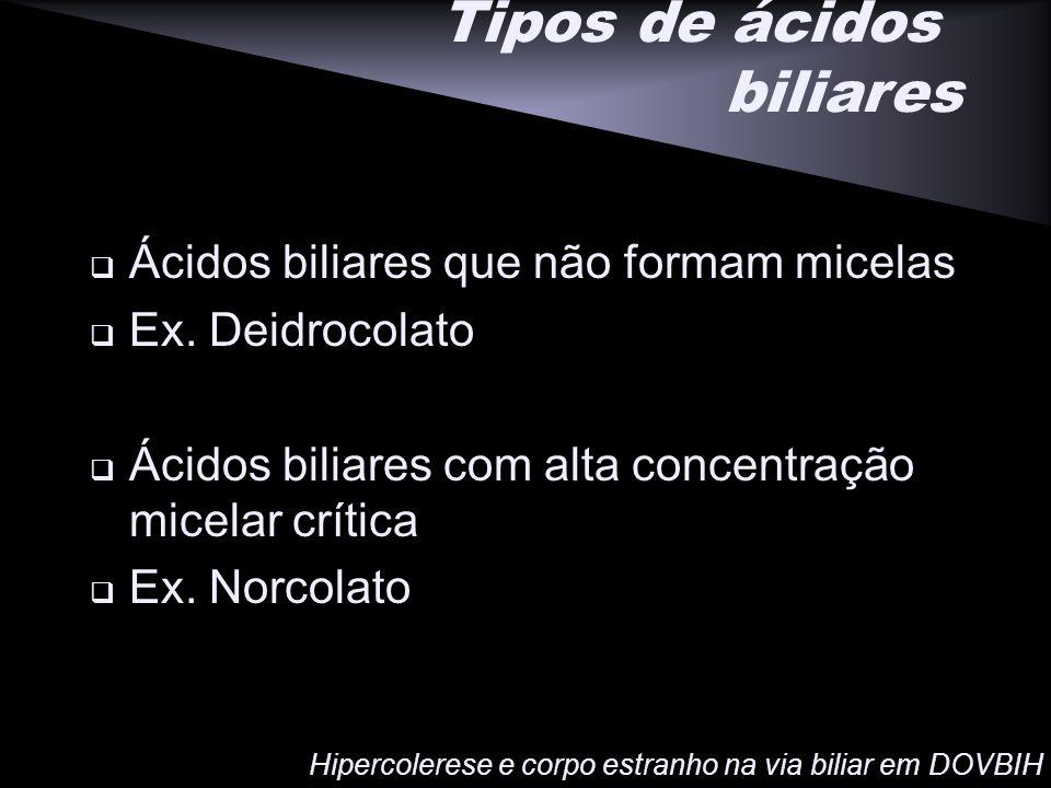 Tipos de ácidos biliares Ácidos biliares que não formam micelas