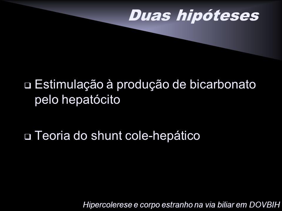 Duas hipóteses Estimulação à produção de bicarbonato pelo hepatócito