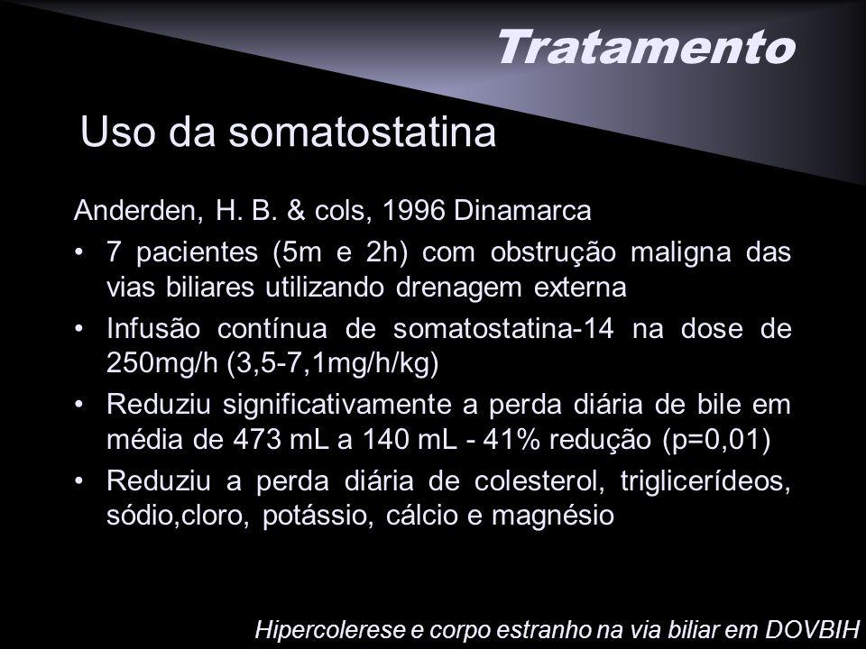 Tratamento Uso da somatostatina Anderden, H. B. & cols, 1996 Dinamarca