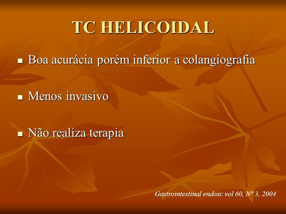 TC HELICOIDAL Boa acurácia porém inferior a colangiografia