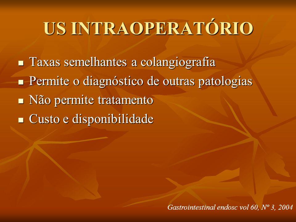 US INTRAOPERATÓRIO Taxas semelhantes a colangiografia