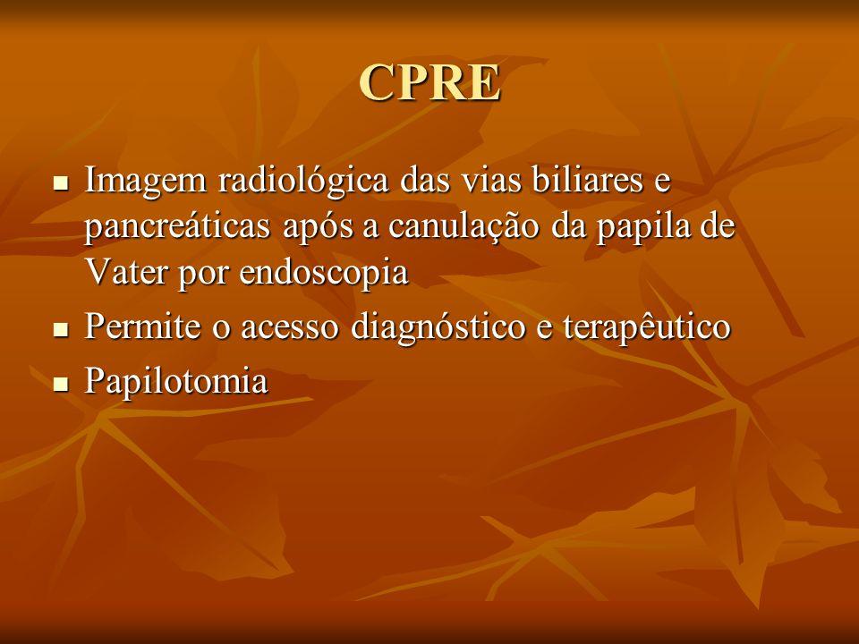 CPRE Imagem radiológica das vias biliares e pancreáticas após a canulação da papila de Vater por endoscopia.