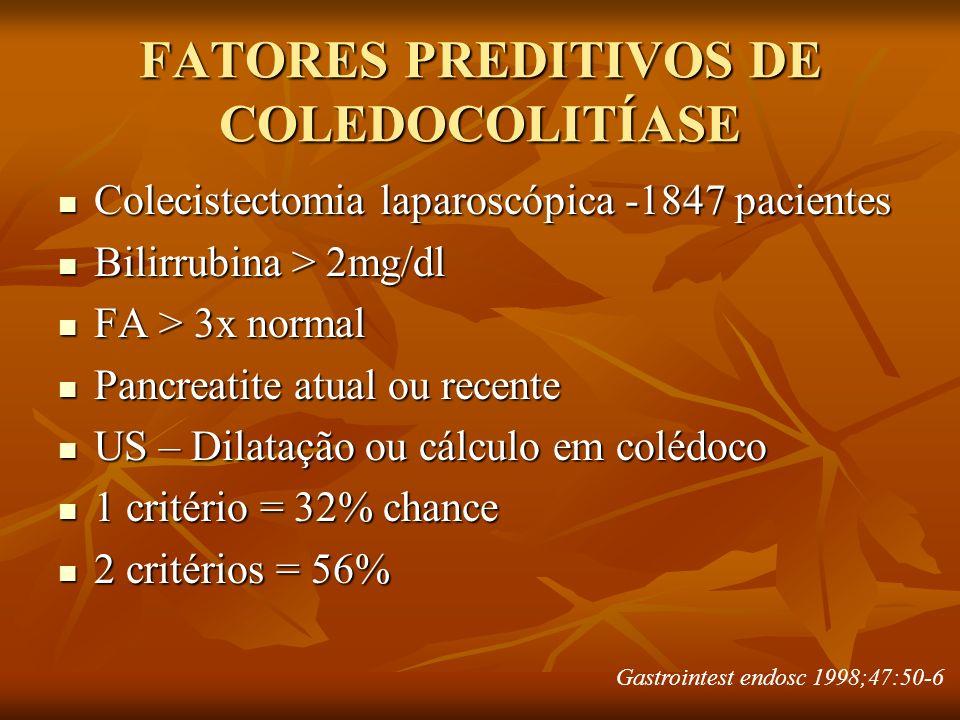 FATORES PREDITIVOS DE COLEDOCOLITÍASE