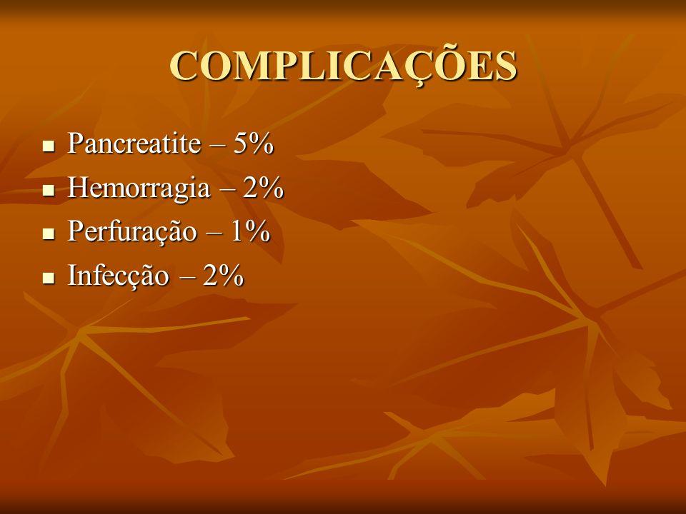 COMPLICAÇÕES Pancreatite – 5% Hemorragia – 2% Perfuração – 1%