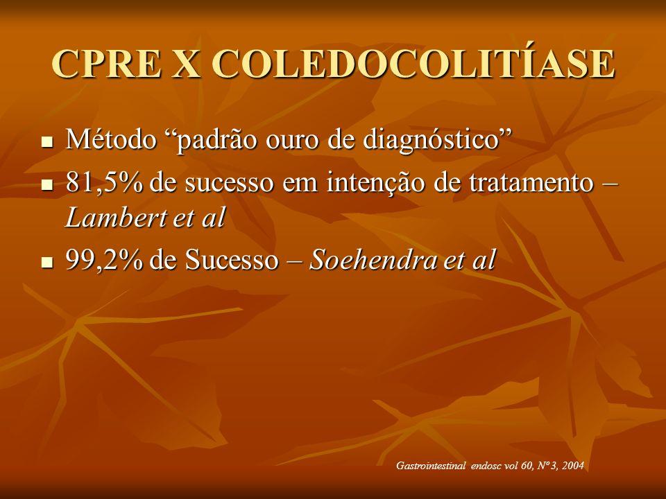 CPRE X COLEDOCOLITÍASE