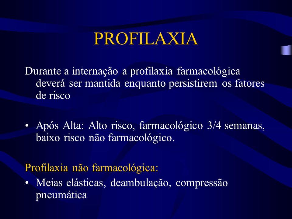 PROFILAXIA Durante a internação a profilaxia farmacológica deverá ser mantida enquanto persistirem os fatores de risco.