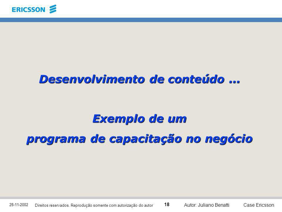 Desenvolvimento de conteúdo ... programa de capacitação no negócio