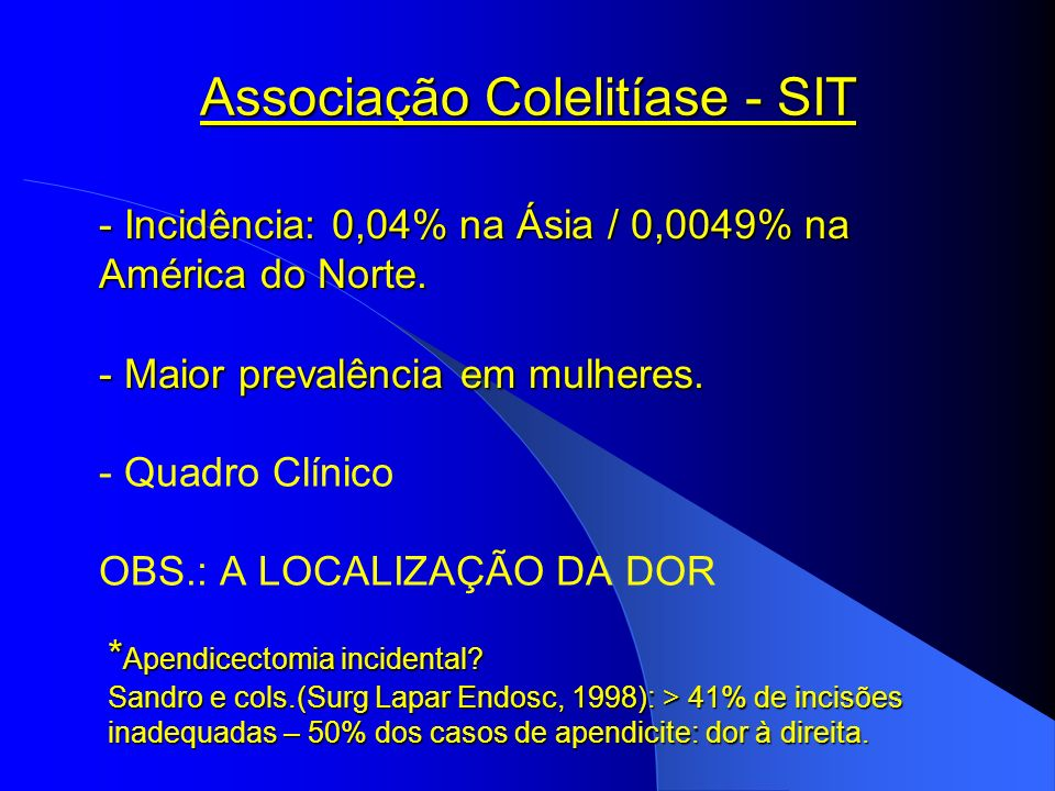Associação Colelitíase - SIT