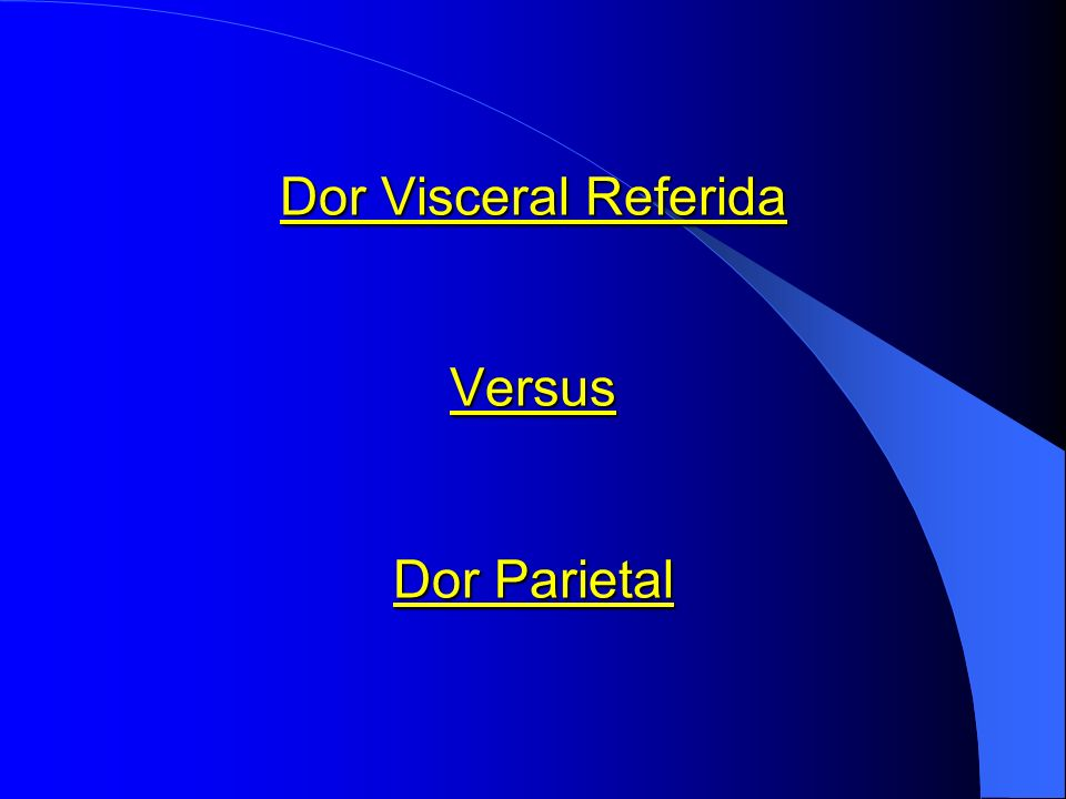 Dor Visceral Referida Versus Dor Parietal