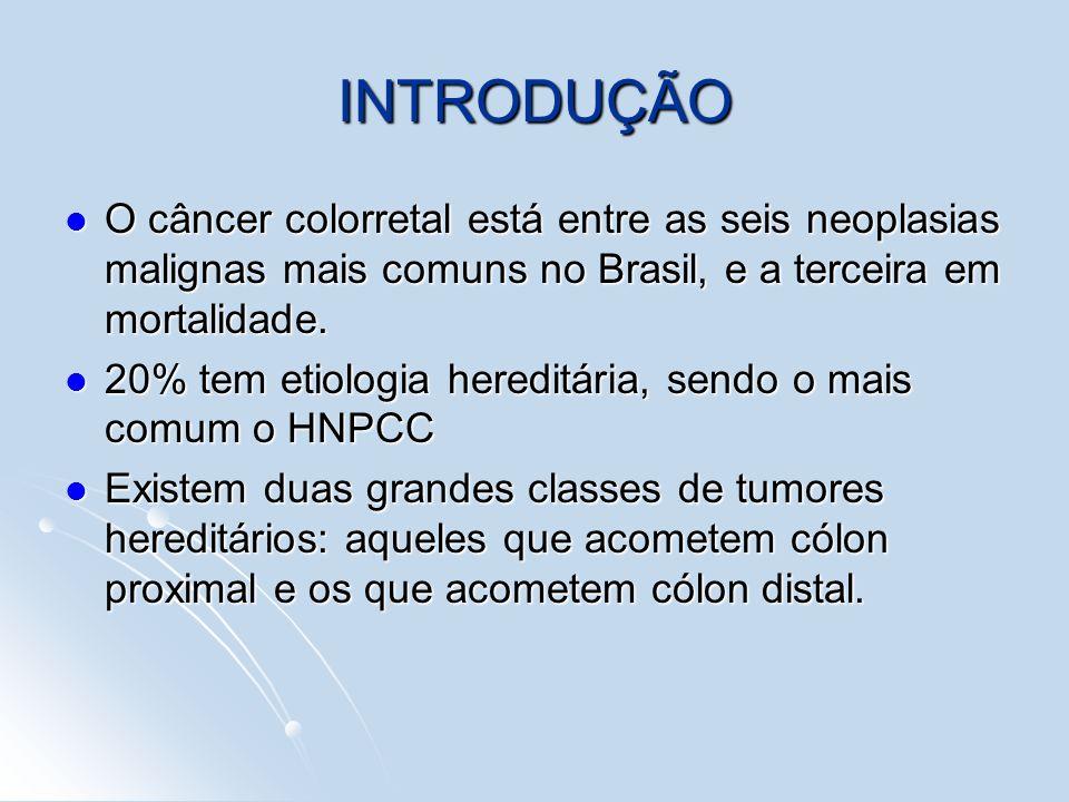 INTRODUÇÃOO câncer colorretal está entre as seis neoplasias malignas mais comuns no Brasil, e a terceira em mortalidade.