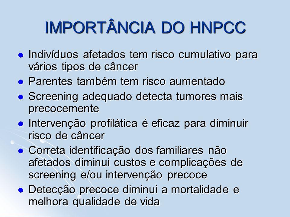 IMPORTÂNCIA DO HNPCC Indivíduos afetados tem risco cumulativo para vários tipos de câncer. Parentes também tem risco aumentado.