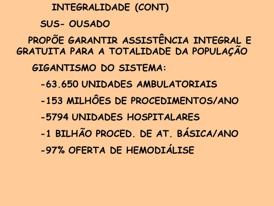 INTEGRALIDADE (CONT) SUS- OUSADO. PROPÕE GARANTIR ASSISTÊNCIA INTEGRAL E GRATUITA PARA A TOTALIDADE DA POPULAÇÃO.