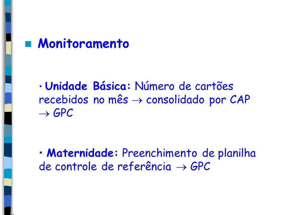 Monitoramento Unidade Básica: Número de cartões recebidos no mês  consolidado por CAP  GPC.