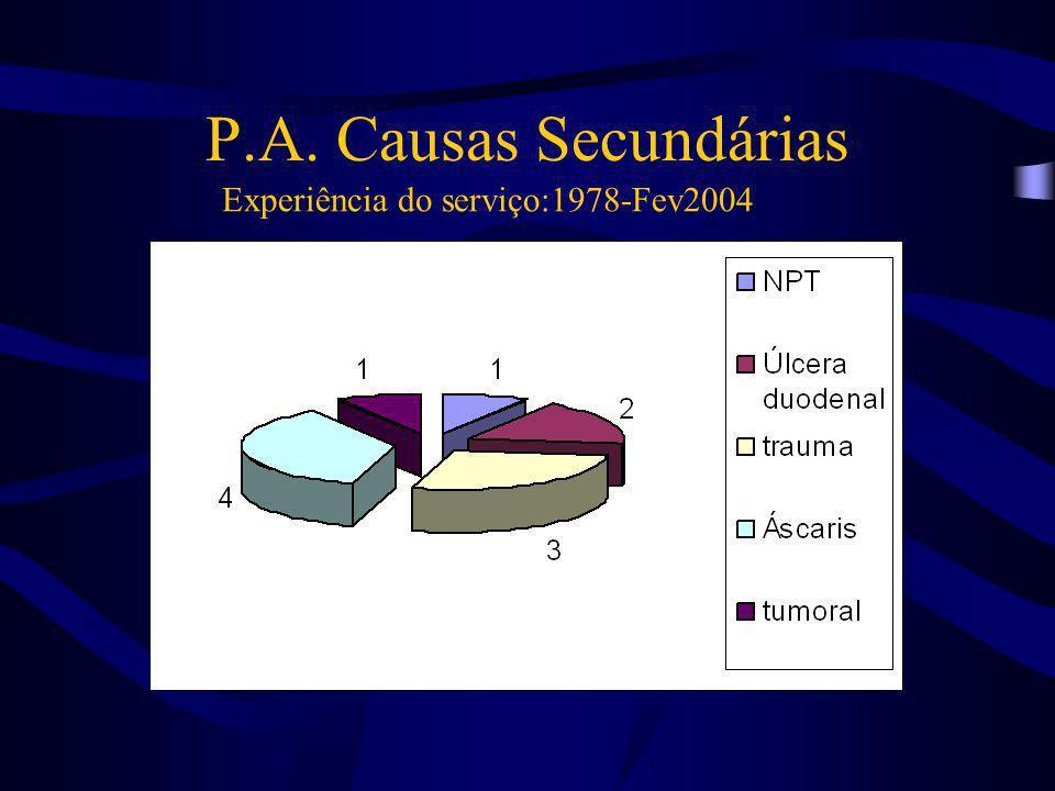 P.A. Causas Secundárias Experiência do serviço:1978-Fev2004
