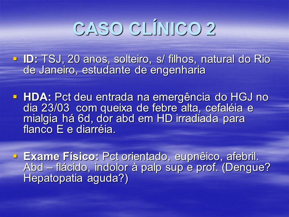 CASO CLÍNICO 2 ID: TSJ, 20 anos, solteiro, s/ filhos, natural do Rio de Janeiro, estudante de engenharia.