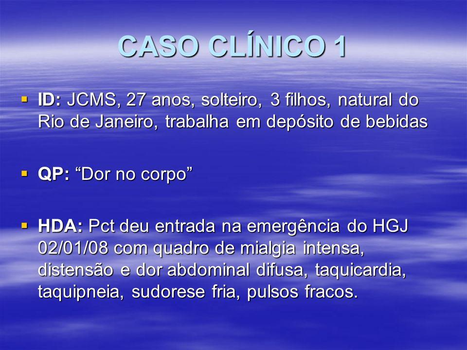 CASO CLÍNICO 1 ID: JCMS, 27 anos, solteiro, 3 filhos, natural do Rio de Janeiro, trabalha em depósito de bebidas.