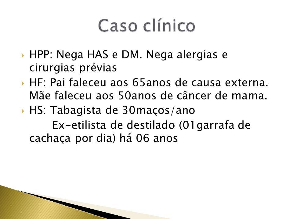 Caso clínico HPP: Nega HAS e DM. Nega alergias e cirurgias prévias