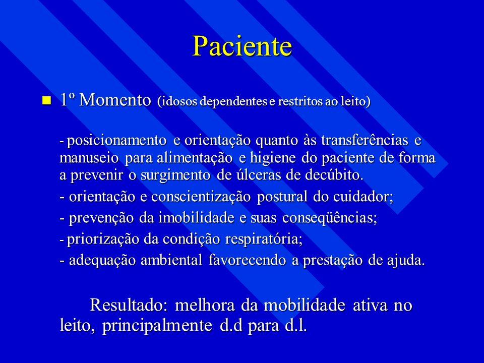 Paciente 1º Momento (idosos dependentes e restritos ao leito)