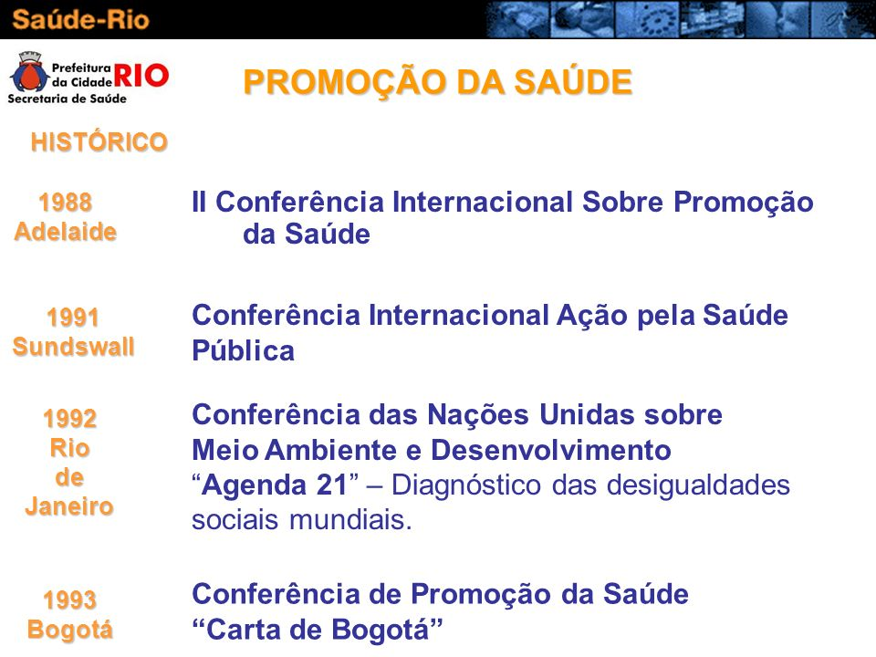 PROMOÇÃO DA SAÚDE II Conferência Internacional Sobre Promoção da Saúde