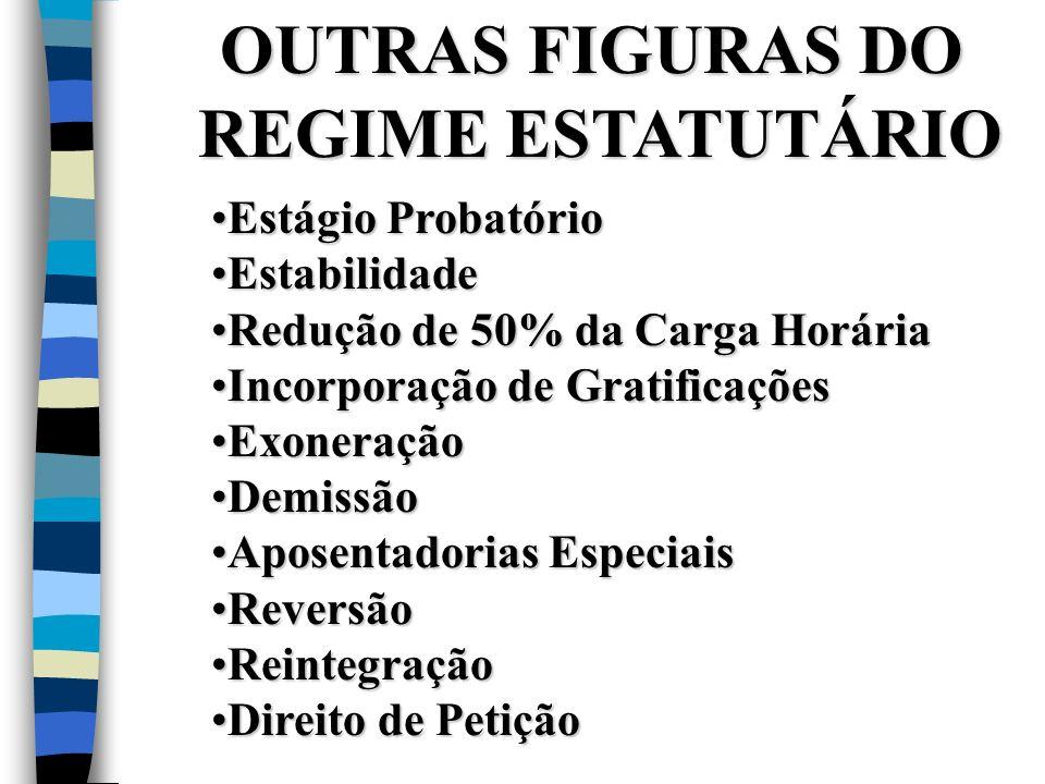 OUTRAS FIGURAS DO REGIME ESTATUTÁRIO