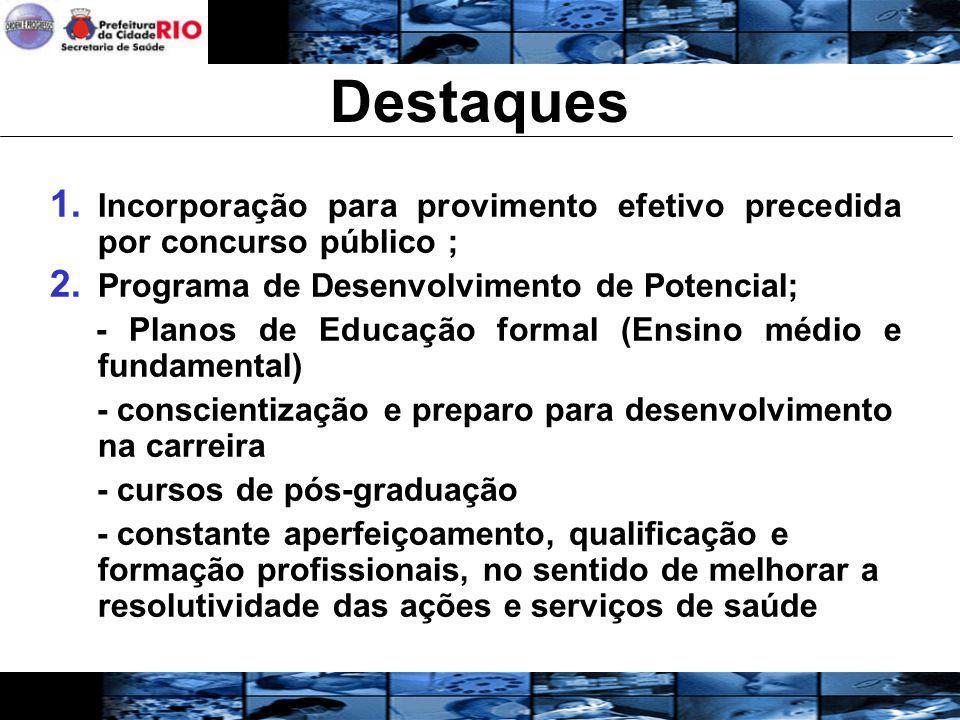 Destaques Incorporação para provimento efetivo precedida por concurso público ; Programa de Desenvolvimento de Potencial;
