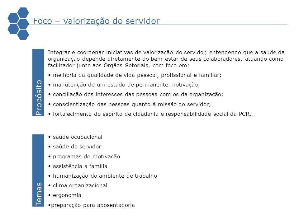 Foco – valorização do servidor