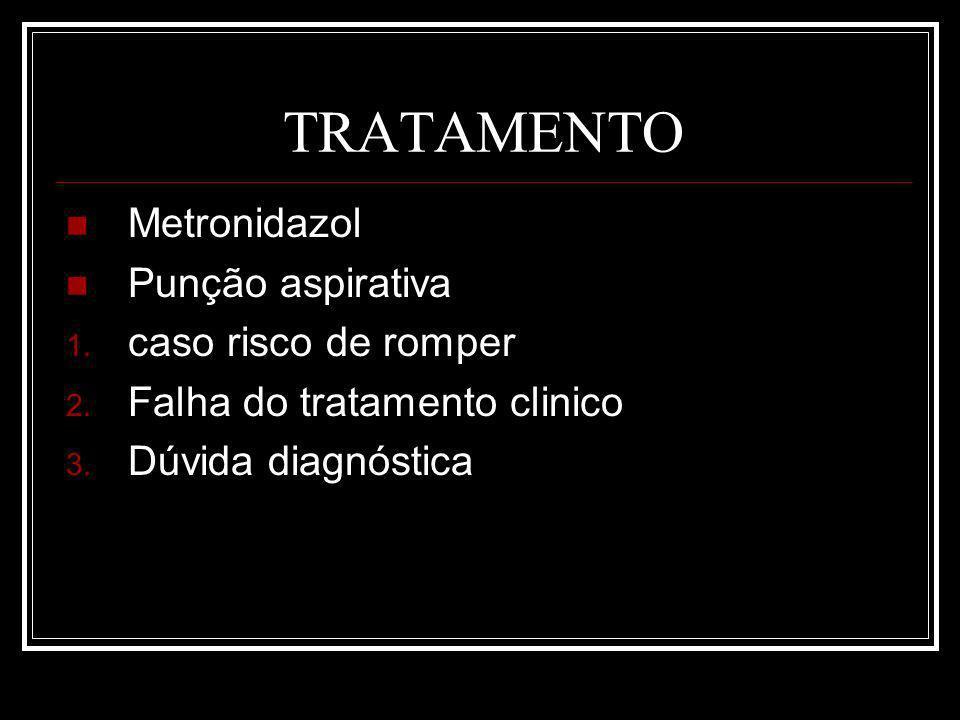 TRATAMENTO Metronidazol Punção aspirativa caso risco de romper