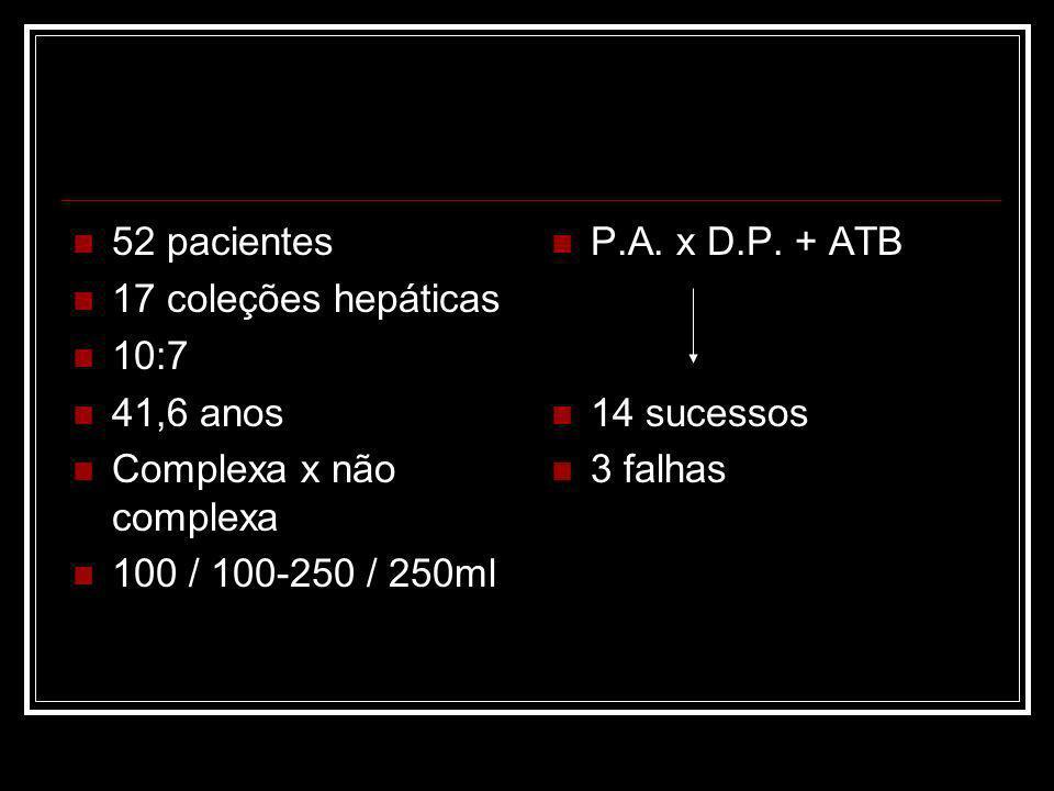 52 pacientes 17 coleções hepáticas. 10:7. 41,6 anos. Complexa x não complexa. 100 / 100-250 / 250ml.