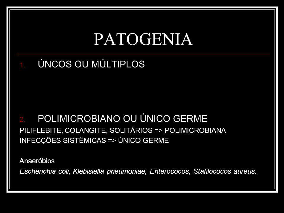 PATOGENIA ÚNCOS OU MÚLTIPLOS POLIMICROBIANO OU ÚNICO GERME