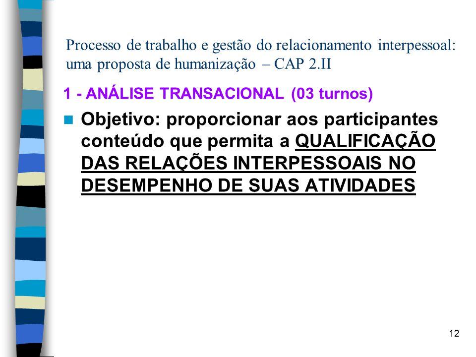Processo de trabalho e gestão do relacionamento interpessoal: uma proposta de humanização – CAP 2.II