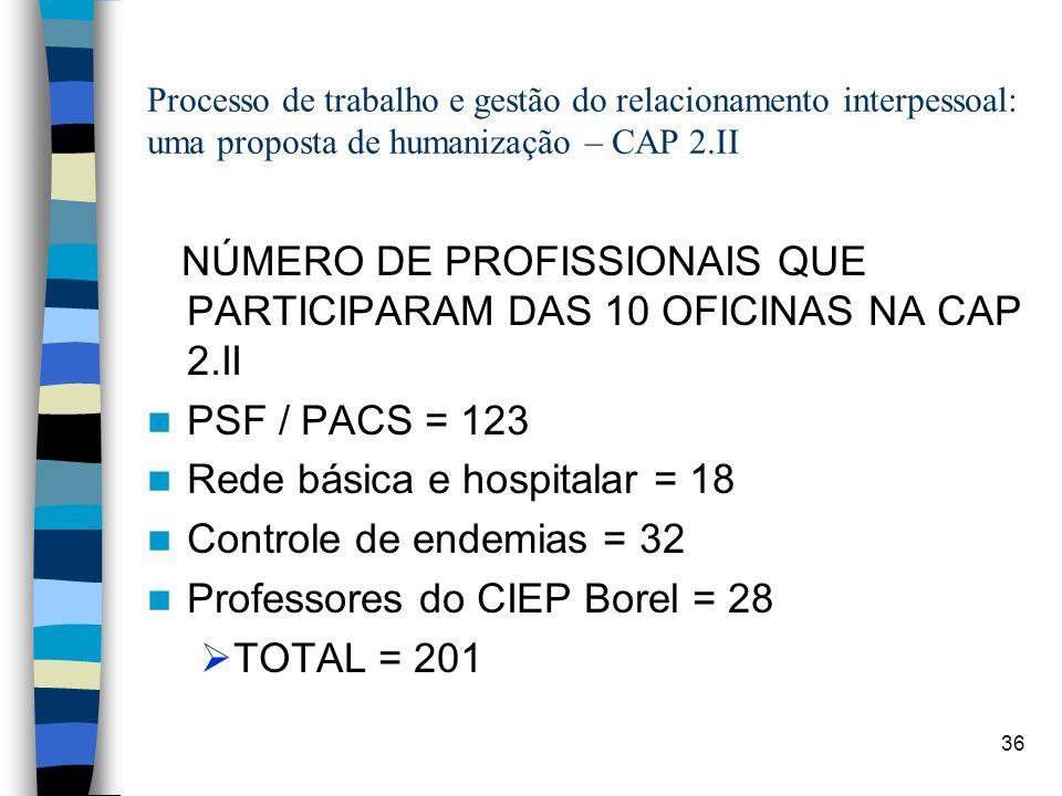 NÚMERO DE PROFISSIONAIS QUE PARTICIPARAM DAS 10 OFICINAS NA CAP 2.II