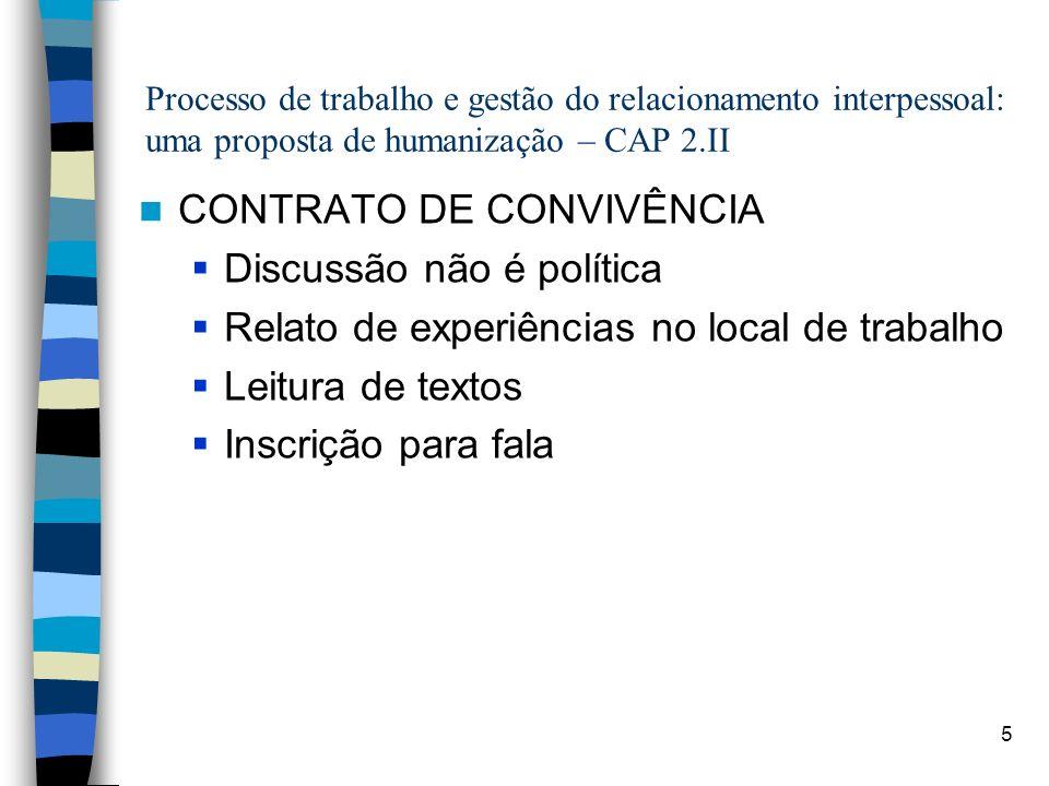 CONTRATO DE CONVIVÊNCIA Discussão não é política