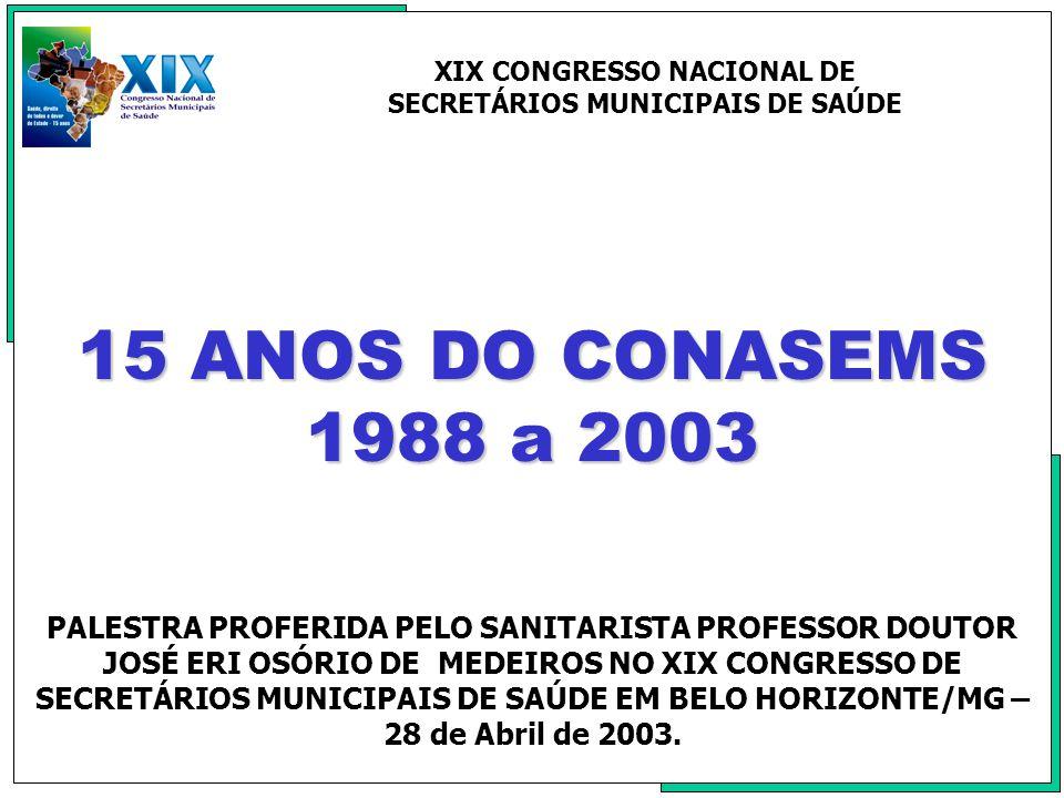 XIX CONGRESSO NACIONAL DE SECRETÁRIOS MUNICIPAIS DE SAÚDE
