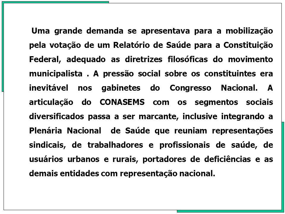 Uma grande demanda se apresentava para a mobilização pela votação de um Relatório de Saúde para a Constituição Federal, adequado as diretrizes filosóficas do movimento municipalista .