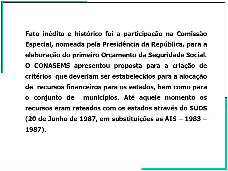 Fato inédito e histórico foi a participação na Comissão Especial, nomeada pela Presidência da República, para a elaboração do primeiro Orçamento da Seguridade Social.