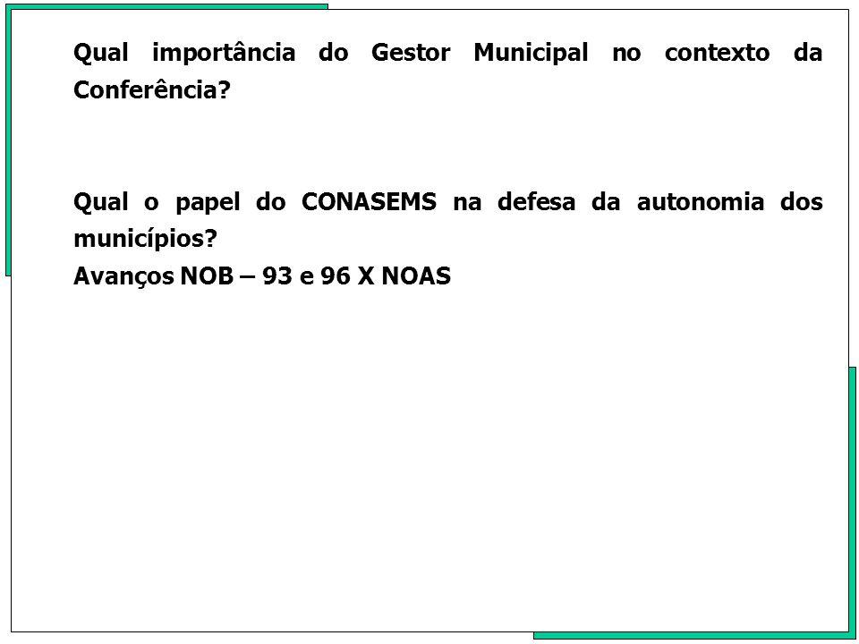 Qual importância do Gestor Municipal no contexto da Conferência